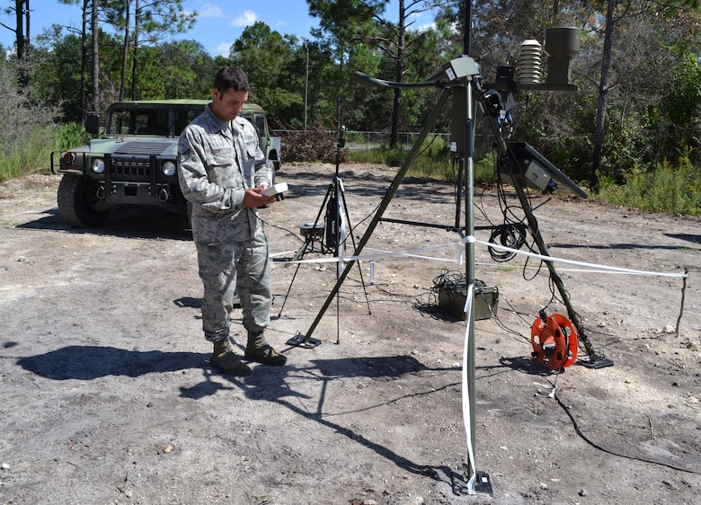 Staff Sgt. Phil Tori demonstrates operation of the handheld weather monitoring equipment during an Field Training Exercise Oct. 4, 2014 at the Camp Blanding Joint Training Center, Starke Fla. The FTX provided colaborative trainign between the 159th Weather Flight and the 290th Joint Communications Support Squadron. (U.S. Air National Guard photo by Tech. Sgt. William Buchanan)
