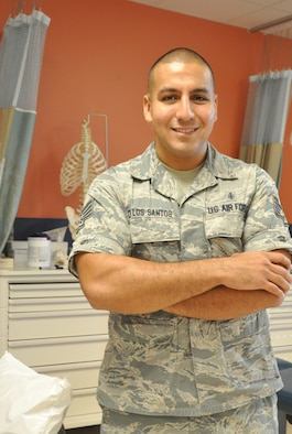 Staff Sgt. Pedro De Los Santos, 45th Medical Operations Squadron physical therapy technician, was selected for Shark of the Week, at Patrick Air Force Base, Fla. The Shark of the Week is selected in order to bring a human voice to the many stories that keep Patrick-Cape developing professional Airmen, delivering 100 percent mission success, and prove wing readiness. (U.S. Air Force photo/Heidi Hunt)