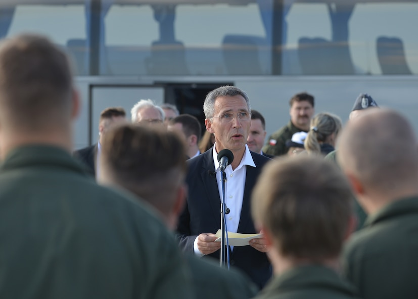 The new NATO Secretary-General Jens Stoltenberg speaks to a crowd of NATO allies Oct. 6, 2014, at Lask Air Base, Poland. During the visit, the secretary-general stressed the continued dedication to NATOs strong alliance. He also thanked the NATO allies in attendance to include the United States, Canada, Belgium, Poland, Netherlands, France and Germany in addition to all NATO partners for their dedication to the mission. (U.S. Air Force photo/Tech. Sgt. Eric Donner)