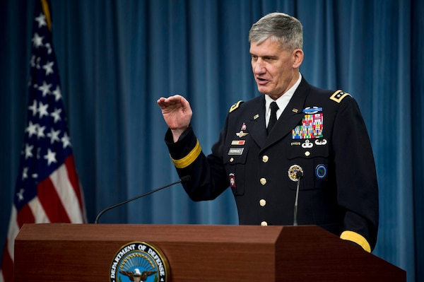 Army Gen. David M. Rodriguez, commander of U.S. Africa Command, describes the Defense Department's response to Ebola during a news conference at the Pentagon, Oct. 7, 2014. DoD photo by Air Force Master Sgt. Adrian Cadiz