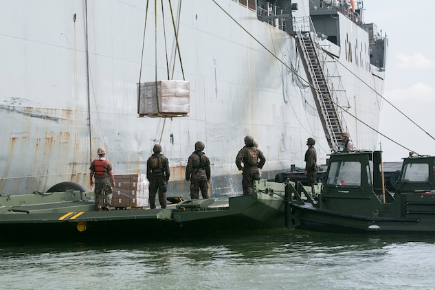 U.S. Marines load pallets of Meals, Ready-to-Eat from the USNS Sacagawea onto components of an Improved Ribbon Bridge while executing ship-to-shore transport operations Sept. 23 in logistical support of Amphibious Landing Exercise 2015 in Subic Bay, Philippines. The operation proved the concept that IRB components can be used in conjunction with Bridge Erection Boats on the open ocean as a ship-to-shore connector for transporting supplies and equipment to Marines on shore. PHIBLEX is an annual bilateral training exercise conducted by the Armed Forces of the Philippines alongside U.S. Marine and Navy forces. The Marines are combat engineers with 9th Engineer Support Battalion, 3rd Marine Logistics Group, III Marine Expeditionary Force, currently assigned to Combat Logistics Detachment 379, Headquarters Regiment, 3rd MLG, III MEF. T-AKE 14-2 is a maritime pre-positioned force, multi-country theater security cooperation event that deployed from Okinawa aboard the USNS Sacagawea to participate in training exercises throughout the Asia-Pacific area of operations. (U.S. Marine Corps photo by Cpl. Drew Tech/Released)