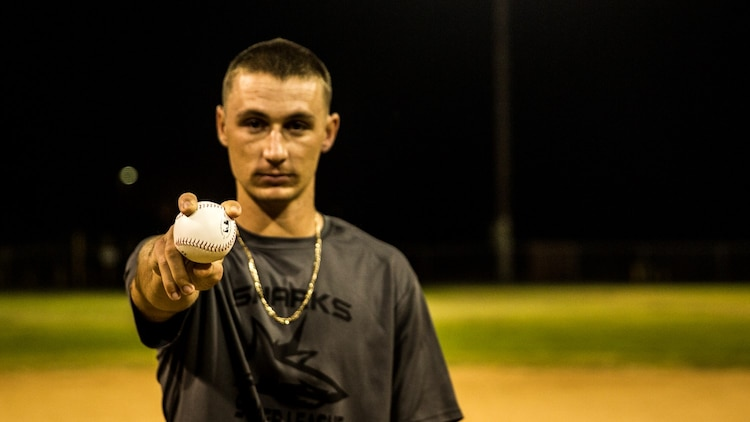 U.S. Marine Pfc. Anthony M. Prohaska poses with a baseball aboard Camp Pendleton, Calif., Oct. 6, 2014. Prohaska, 21, is from Fort Myers, Fla., and is an administrative specialist with the 15th Marine Expeditionary Unit. (U.S. Marine Corps photo by Sgt. Emmanuel Ramos/Released)