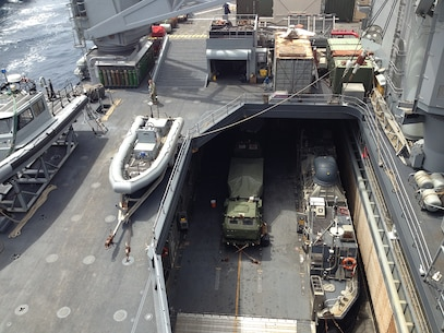 A M142 HIMARS launcher from Battery R can be seen chained to an LCAC in the well deck of the USS Rushmore (LSD-47) while underway.
