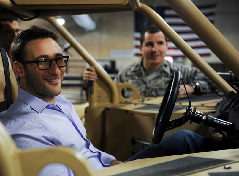 Simon Sinek, an internationally renowned speaker and author, sits inside of a Guardian Angel Air-Deployable Rescue Vehicle while visiting the 58th Rescue Squadron during a visit to Nellis Air Force Base, Nev., Oct. 1, 2014. Sinek was visiting Nellis Air Force Base to get a better understanding of the mission and capabilities of the U.S. Air Force's ground forces. (U.S. Air Force photo by Airman 1st Class Mikaley Towle)