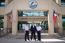 Senator Ted Cruz visits 37th Training Wing with Colonel Trent Edwards and CMSgt Louis Orrie.