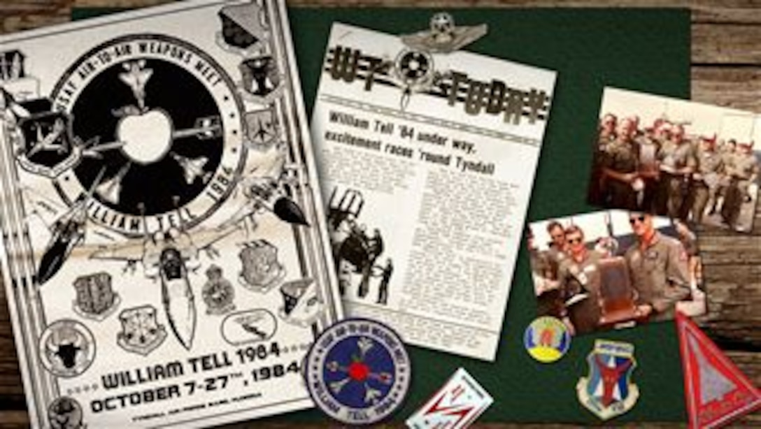 Old Tyndall Air Force base Papers, William Tell '84 artifacts, and 177th Fighter Interceptor Group memorabilia can be seen in this digital art piece. (U.S. Air National Guard digital art by Tech. Sgt. Matt Hecht)