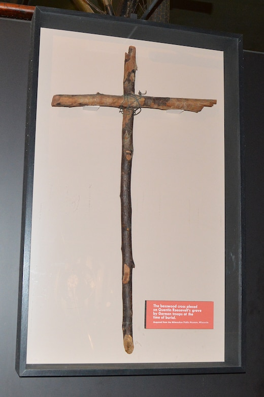 DAYTON, Ohio -- Exhibit featuring Lt. Quentin Roosevelt and his burial cross in the Early Years Gallery at the National Museum of the United States Air Force. (U.S. Air Force photo)