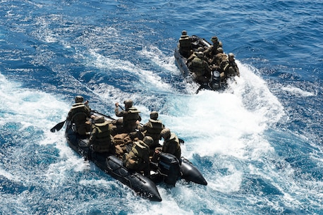 Marines, assigned to the 31st Marine Expeditionary Unit (MEU), depart the well deck of the amphibious dock landing ship USS Germantown (LSD 42) in combat rubber raiding crafts (CRRC) during the Amphibious Landing Exercise 2015 (PHIBLEX15). PHIBLEX15 is an annual bilateral training exercise conducted with the Armed Forces of the Philippines. Germantown is part of the Peleliu Expeditionary Strike Group, commanded by Rear Adm. Hugh Wetherald, and is conducting joint forces exercises in the U.S. 7th Fleet area of responsibility.
