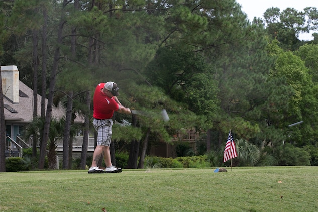 Marines and sailors from Marine Corps Air Station Beaufort and Marine Corps Recruit Depot Parris Island participated in the Fourth Annual Tee It Up For The Troops, a free golf tournament held at the Sea Pines Country Club in Hilton Head, Oct. 3.The tournament pairs service members with country club members for a day of golf followed by an award ceremony and cookout. The event forwards 95 percent of the proceeds raised directly to disabled veterans and their families.