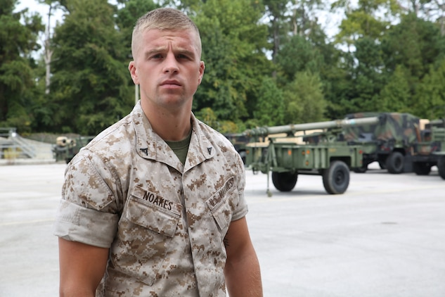 Lance Cpl. Joshua Gharam Noakes is a 24-year-old supply administrative and operations clerk with the supply section of the Ground Combat Element Integrated Task Force from Norwich, United Kingdom. He came to the United States at the age of 15, and earned his citizenship at the conclusion of Marine Corps recruit training. From October 2014 to July 2015, the Ground Combat Element Integrated Task Force will conduct individual and collective skills training in designated combat arms occupational specialties in order to facilitate the standards based assessment of the physical performance of Marines in a simulated operating environment performing specific ground combat arms tasks.(Official U.S. Marine Corps photo by Cpl. Paul S. Martinez/Released)