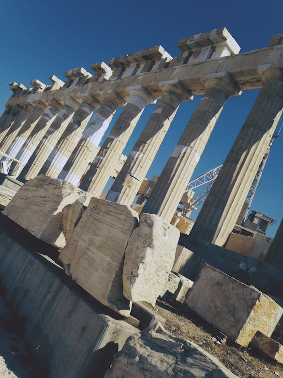 Located on top of the Acropolis sits the Parthenon that is dedicated to the Greek goddess Athena. The Parthenon is known as the finest example of Greek architecture in existence. (U.S. Air Force photo/Senior Airman Michael Battles)