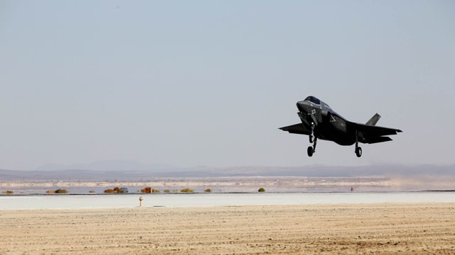 A F-35B Lightning II with Marine Operational and Test Evaluation Squadron 22 taxies under a canopy aboard Edwards Air Force Base, Calif., Oct. 9. This is the squadron's first F-35 Lightning II.
