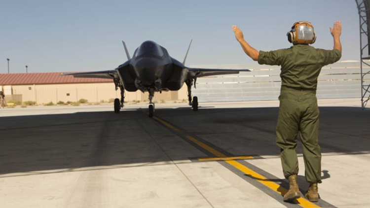 An F-35B Lightning II with Marine Operational and Test Evaluation Squadron 22 prepares to touch down aboard Edwards Air Force Base, Calif., Oct. 9. This is the squadron's first F-35 Lightning II.