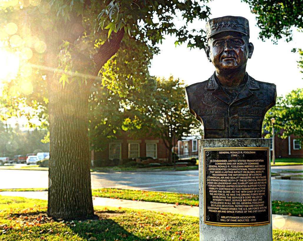 A bronze bust of former Air Force Chief of Staff Gen. Ronald R. Fogleman was unveiled Oct. 9, 2014, at  Mobility Memorial Park on Scott Air Force Base, Ill. Fogleman was the Air Force chief of staff from 1994 to 1997. Before that he served as the dual-hatted commander for both U.S. Transportation Command and Air Mobility Command. (U.S. Air Force photo/Staff Sgt. Stephenie Wade)