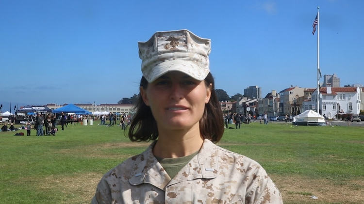San Francisco native 1st Lt. Stephanie Bohlen, a forward operations officer with Combat Logistics Battalion 13, participated in setting up a humanitarian assistance and disaster relief village for San Francisco Fleet Week 2014, Oct. 10. During the course of fleet week, Marines have been demonstrating assets available for the Bay Area in response to a sudden crisis. The intent is to showcase amphibious nature, readiness and the ability to respond to disasters and highlight the role the Navy-Marine Corps team can play in assisting disaster victims.