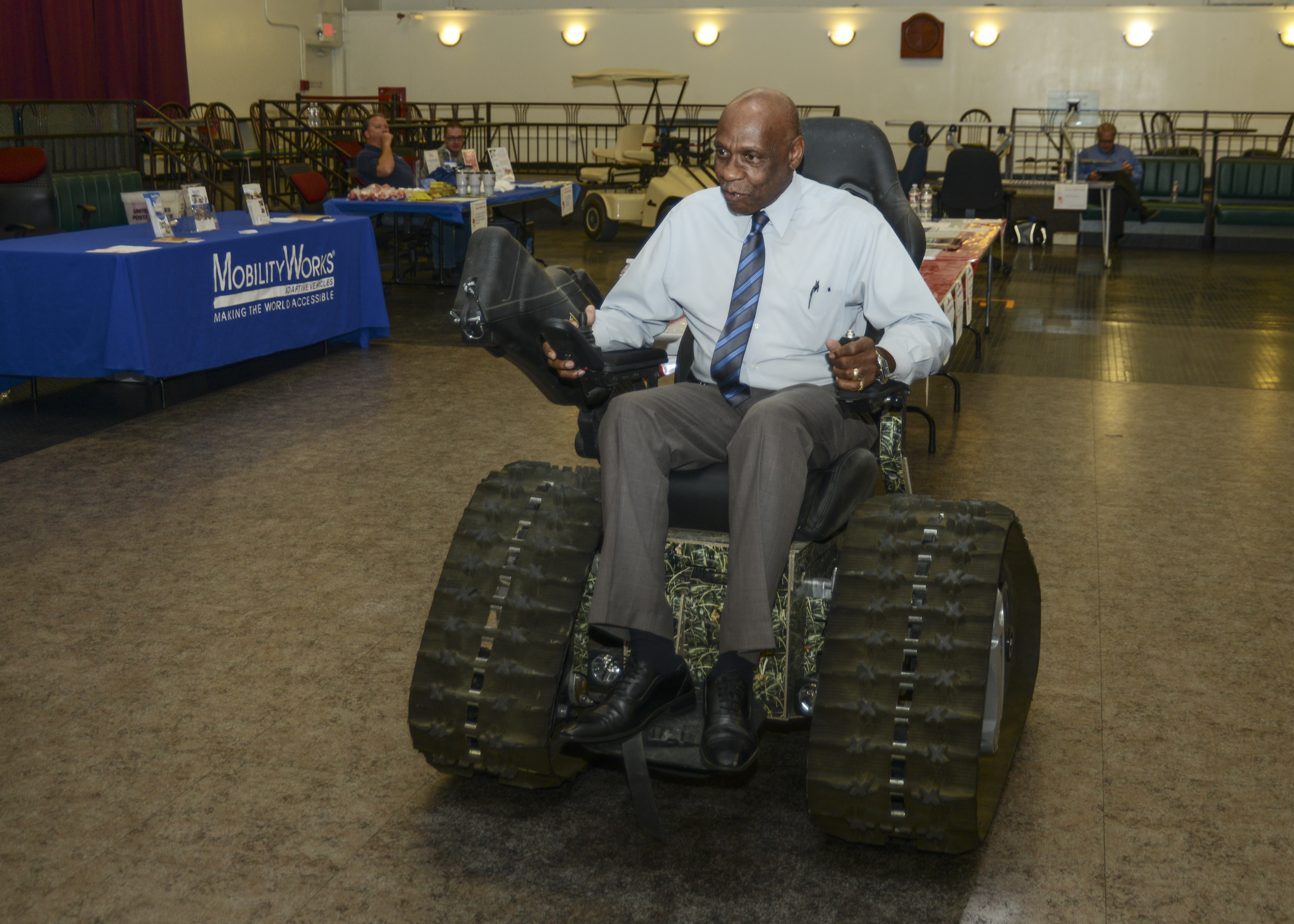 Alfred Wilson, 412th Test Wing Equal Opportunity Director, Navigates A Tank  Chair Built From