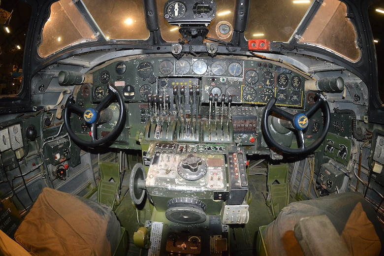 "DAYTON, Ohio -- Consolidated B-24D ""Strawberry Bitch"" cockpit at the National Museum of the United States Air Force. (U.S. Air Force photo)"
