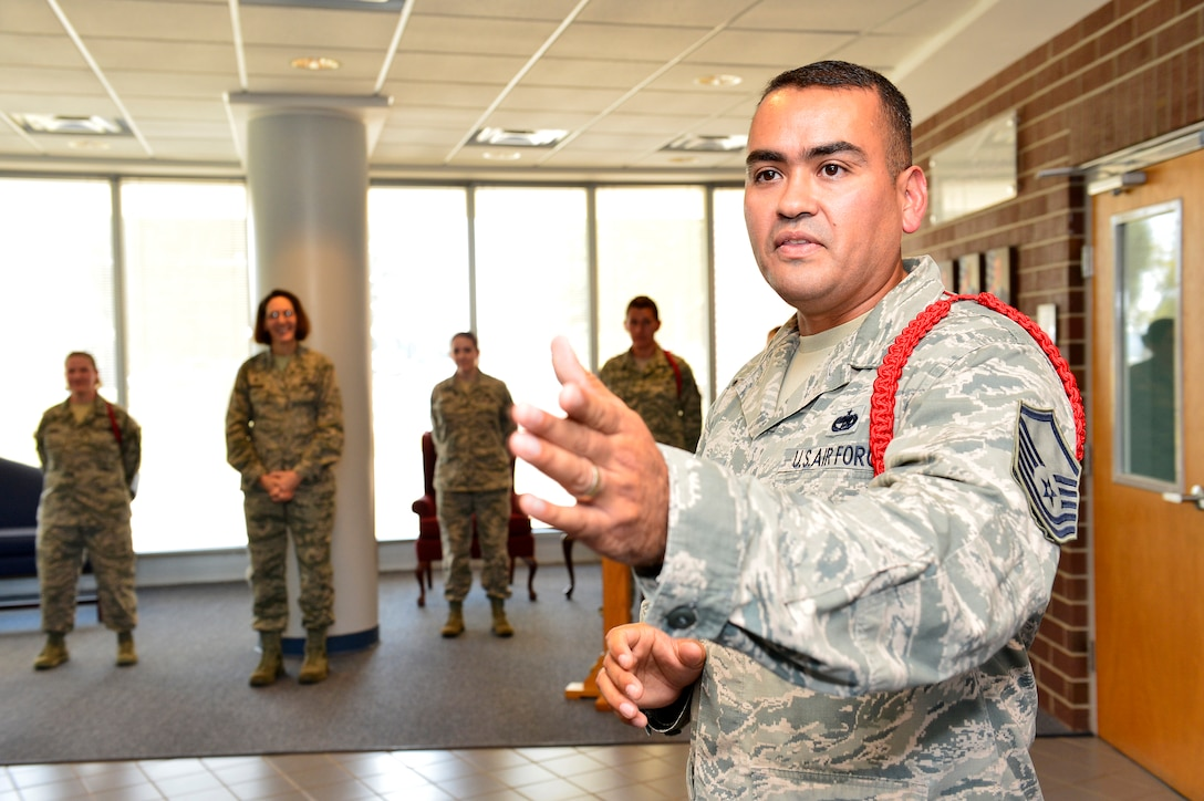 MCGHEE TYSON AIR NATIONAL GUARD BASE, Tenn. -- Master Sgt. Jason Ramon is promoted here Sept. 30, 2014, during a ceremony at the I.G. Brown Training and Education Center. Ramon, an Air Force NCO Academy instructor stationed at Tyndall Air Force Base in Florida, was serving on temporary duty as an enlisted professional military education instructor for the Paul H. Lankford Enlisted PME Center. (U.S. Air National Guard photo by Master Sgt. Mike R. Smith/Released)