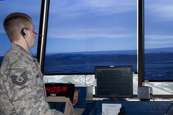 Tech. Sgt. Joseph Sievert, air traffic controller for the 821st Support Squadron,