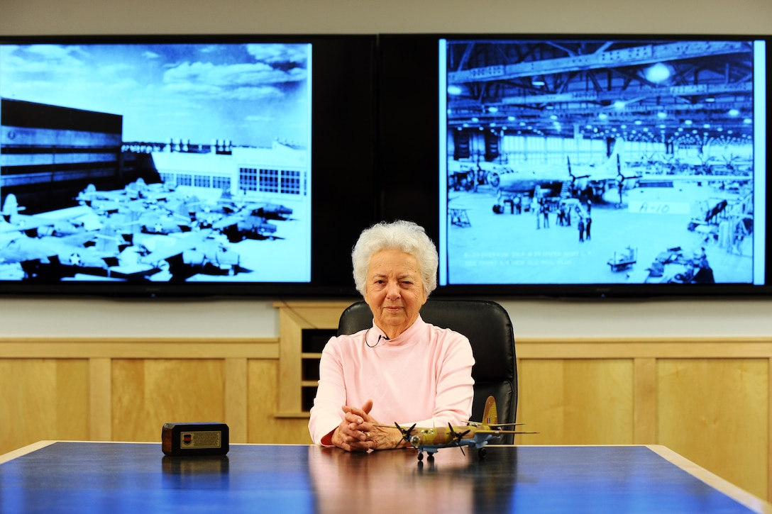 Kathryn Shudak sits in the Glenn L. Martin Bomber building where she worked during World War II as one of many Rosie the Riveters May 5, 2014, at Offutt Air Force Base, Neb. During the war, Shudak spent three years riveting B-29 Superfortress bombers as they made their way down the assembly line. (U.S. Air Force photo/Josh Plueger)
