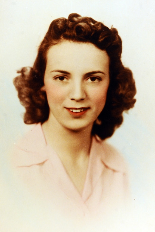A portrait of Kathryn Shudak in the early 1940s when she was employed at the Glenn L. Martin-Nebraska Bomber Plant, Neb., to drive rivets into B-29 Superfortress bombers in support of the war effort. Shudak worked at the plant from 1942 to 1945 as one of many Rosie the Riveters. (U.S. Air Force photo/Josh Plueger)