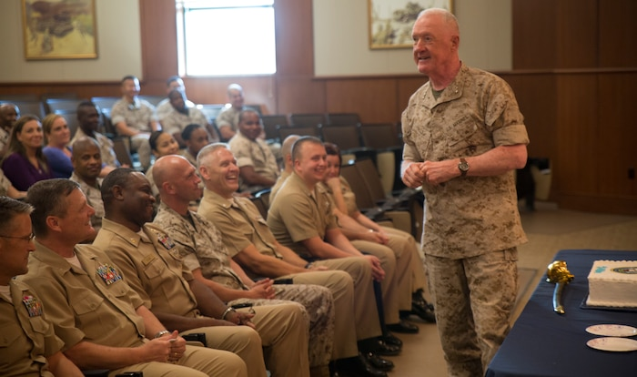 Lt. Gen. Richard P. Mills, commander of Marine Forces Reserve, addresses Marines and Sailors during the Navy's birthday celebration ceremony at Marine Corps Support Facility New Orleans, Oct. 15, 2014.  The United States Navy celebrated its 239th birthday with the traditional bell ringing and cake cutting ceremony.