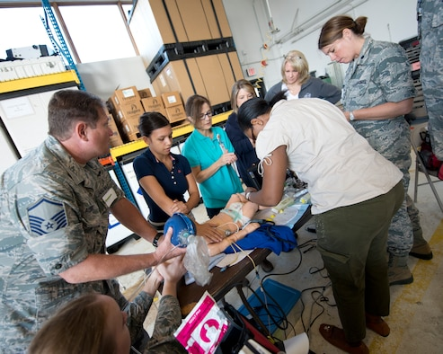 The 133rd Airlift Wing hosted an event that brought in specialists from Children's Hospital of St. Paul, Minn. to train members of the Wing's Medical Squadron during Sept. drill.  (U.S. Air National Guard photo by Tech. Sgt. Paul Santikko/Released)