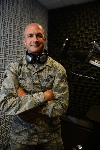 U.S. Air Force Staff Sgt. Jonathan D. Porter, American Forces Network-Spangdahlem NCO in charge of News from San Antonio, is the Super Saber Performer for the week of Oct. 15-21, 2014. (U.S. Air Force photo by Senior Airman Gustavo Castillo/Released)