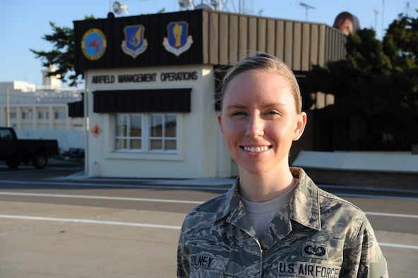 Airman 1st Class Brittany E. Dolney, 35th Operations Support Squadron airfield management shift lead, is the Wild Weasel of the Week at Misawa Air Base, Japan, Oct. 3, 2014. Dolney is responsible for responding to all in-flight and ground emergencies on the flight line, conducting daily checks of the entire airfield and lighting system, and tracking all aircrafts departing and arriving at Misawa AB to ensure safe landing.