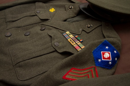 Sgt. Michael E. Banks still keeps his Marine Corps service uniform fresh nearly seventy years after he last wore it as an active duty Marine.  Banks served with the Marine Raiders from 1943-1945 during World War II.