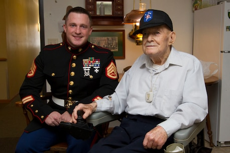 Staff Sgt. Peter Vargo, SNCOIC of Recruiting Substation Appleton, visited Sgt. Michael Banks at the Patriot Place in Berlin, Wis.  Banks served with the Marine Raiders from 1943-1945 during World War II.  He was awarded three Purple Hearts from injuries received in the war.