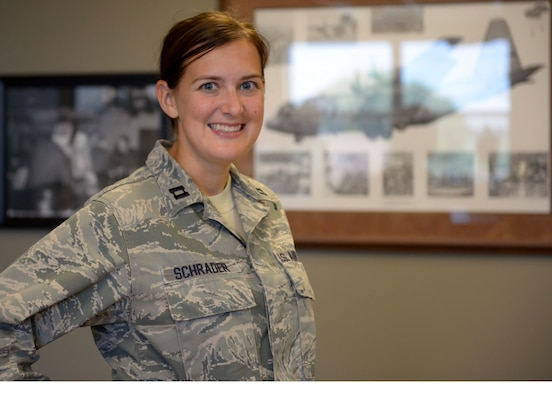 Capt. Christine Schrader at the 934th Airlift Wing (Air Force Photo/Paul Zadach)