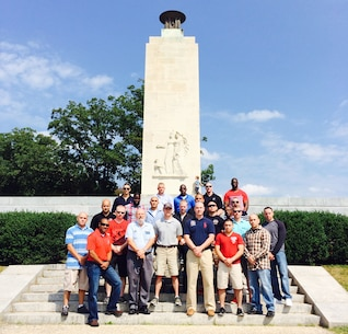 The leaders of Recruiting Station New Jersey pose in front of a monument in Gettsyburg, Pa., during a period of professional military education on Sept. 10, 2014.