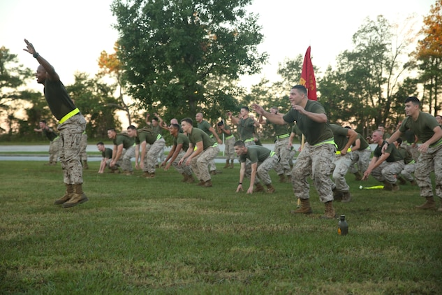 Marines with Headquarters and Service Company, Ground Combat Element Integrated Task Force, conduct star-jump exercises after a three-mile run aboard Marine Corps Base Camp Lejeune, North Carolina, Oct. 17, 2014. Non-commissioned officers within the task force led the unit in the exercises. From October 2014 to July 2015, the Ground Combat Element Integrated Task Force will conduct individual and collective skills training in designated combat arms occupational specialties in order to facilitate the standards based assessment of the physical performance of Marines in a simulated operating environment performing specific ground combat arms tasks. (U.S. Marine Corps photo by Cpl. Paul S. Martinez/Released)