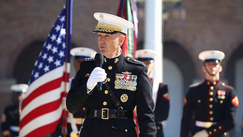 Gen. Joseph F. Dunford, Jr., speaks to the attendees of the change of command ceremony Oct. 17, 2014 at Marine Corps Barracks Washington, 8th & I. After more than 44 years of military service, Gen. James F. Amos, the 35th Commandant of the Marine Corps passed the duties as senior-ranking officer of the Marine Corps to Dunford, who has now become the 36th Commandant of the Marine Corps.