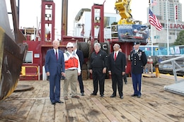 Vice President Joe Biden toured ongoing Delaware River Main Channel Deepening operations in Philadelphia on Oct. 16. Great Lakes Dredge & Dock Company Project Manager Brian Puckett, Congressman Robert Brady, Congressman Chaka Fattah and Philadelphia District U.S. Army Corps of Engineers Commander Lt. Col. Michael Bliss are pictured left to right.