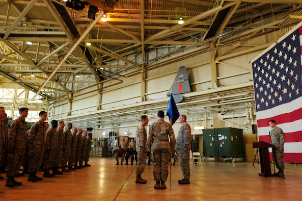 Members of the 145th Maintenance Group gather for an assumption of command ceremony for U.S. Air Force Lt. Col. Stephen Mallette held at the North Carolina Air National Guard Base, Charlotte Douglas Intl. Airport, Oct. 4, 2014. (U.S. Air National Guard photo by Staff Sgt. Julianne M. Showalter, 145th Public Affairs/Released)