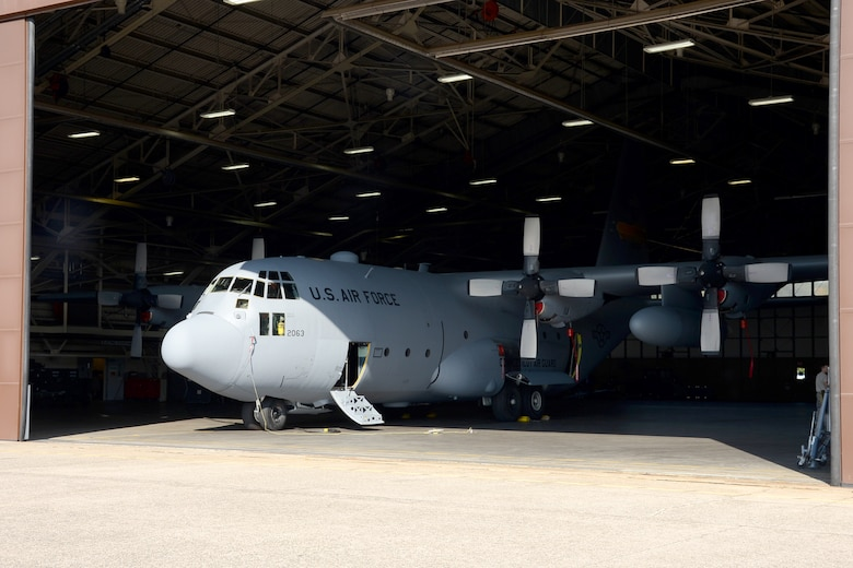 One year after the arrival of the first C-130H Hercules aircraft at Bradley Air National Guard Base, East Granby, Conn., the eighth and final aircraft awaits tail paint in the hangar Friday, October 17, 2014.  The Flying Yankees' acceptance of the final aircraft assigned to the 103rd Airlift Wing, Wednesday, October 15, 20104, marks an important milestone in the unit's conversion to the C-130H mission.  (U.S. Air National Guard photo by Master Sgt. Erin McNamara/RELEASED)