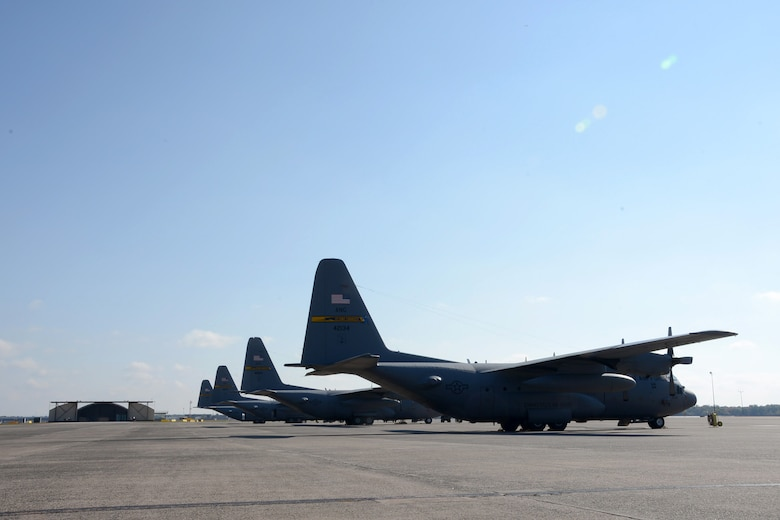 One year after the arrival of the first C-130H Hercules aircraft at Bradley Air National Guard Base, East Granby, Conn., a full fleet of aircraft occupies the flightline Friday, October 17, 2014.  The Flying Yankees' acceptance of the final of eight aircraft assigned to the 103rd Airlift Wing, Wednesday, October 15, 2014, marks an important milestone in the unit's conversion to the C-130H mission.  (U.S. Air National Guard photo by Master Sgt Erin McNamara)