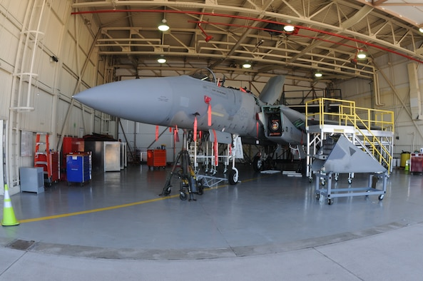An Oregon Air National Guard F-15 Eagle from the 173rd Fighter Wing is almost unrecognizable as a fighter aircraft with multiple pieces missing from its body while sitting in the hangar at Kingsley Field, in Klamath Falls, Ore. Oct. 16, 2014.  This aircraft is going through phase maintenance where the 173rd FW maintainers closely inspect the aircraft for cracks and other types of damage, verifying that the 30 plus year old aircraft is safe to fly.  (U.S. Air National Guard photo by Master Sgt. Jennifer Shirar/Released)