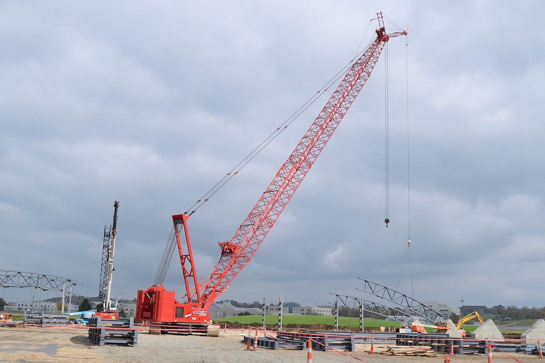 DAYTON, Ohio -- The Manitowoc 999 crawler crane being used to lift the truss into place. The 224,000 square foot building, which is scheduled to open to the public in 2016, is being privately financed by the Air Force Museum Foundation, a non-profit organization chartered to assist in the development and expansion of the museum's facilities. (U.S. Air Force photo)