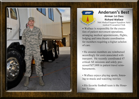 This week Team Andersen's Best is Airman 1st Class Richard Wallace, 36th Medical Support Squadron Aeromedical Evacuation Clerk. Wallace is responsible for the execution of patient movement operations, arranging medical appointments, flights, lodging and intra theatre coordination for members requiring a higher echelon of care. (U.S. Air Force graphic by Staff Sgt. Robert Hicks/Released)