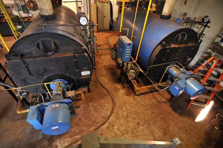An image of two Scotch marine fire-tube boilers at the 177th Fighter Wing, New Jersey Air National Guard in Egg Harbor Township, N.J. on Oct. 16, 2014. The 1980's era boilers, which power the steam plant at the base, will be decommissioned and replaced with higher efficiency boilers with individual building controls. October is the Department of Defense Energy Awareness Month. (U.S. Air National Guard photo by Master Sgt. Andrew J. Moseley/Released)