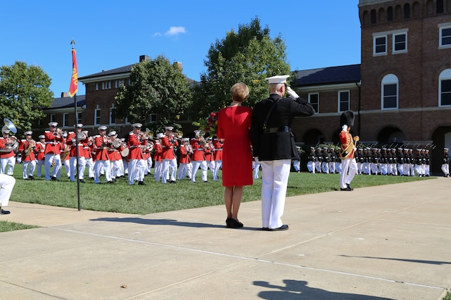 On Oct. 17, 2014, Gen. James F. Amos, the 35th Commandant of the Marine Corps, relinquished command of the Marine Corps to Gen. Joseph F. Dunford, Jr., at Marine Barracks Washington, D.C. (U.S. Marine Corps photo by Gunnery Sgt. Amanda Simmons/released.