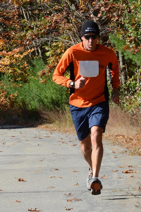 Senior Master Sgt. Michael R. Mercier, 157th Maintenance Squadron budget analyst, runs a leg during the 6th Annual Pease Relay Race in Newington, N.H. Oct. 19. More than 100 runners competed on 13 teams that ran through Newington before finishing at Mission's End for a post-race awards celebration. (N.H. AIr National Guard photo by Tech. Sgt. Mark Wyatt)