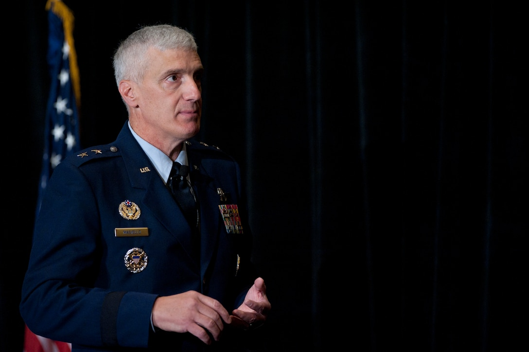 Maj. Gen. Thomas Masiello takes a question from an audience member after discussing Air Force Research Laboratory breakthrough technologies during the 2014 Air Force Association's Air & Space Conference and Technology Exposition, Sept. 16, 2014, in Washington, D.C. Masiello is the commander of Air Force Research Laboratory. (U.S. Air Force photo/Scott M. Ash)