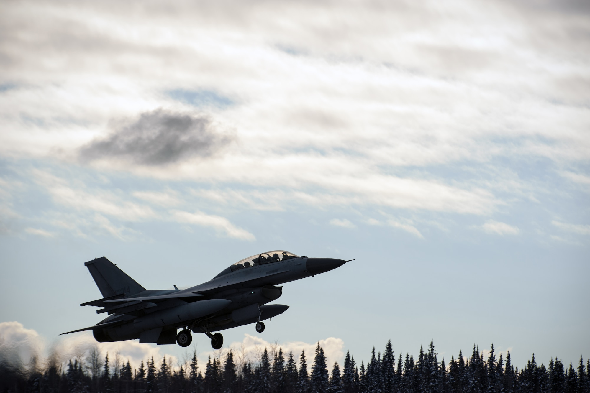 A South Korea air force KF-16 Fighting Falcon takes off during Red Flag-Alaska 15-1 Oct. 9, 2014, at Eielson Air Force Base, Alaska. This exercise marks the first time South Korea air force KF-16s have participated in Red Flag-Alaska. (U.S. Air Force photo/Senior Airman Taylor Curry)