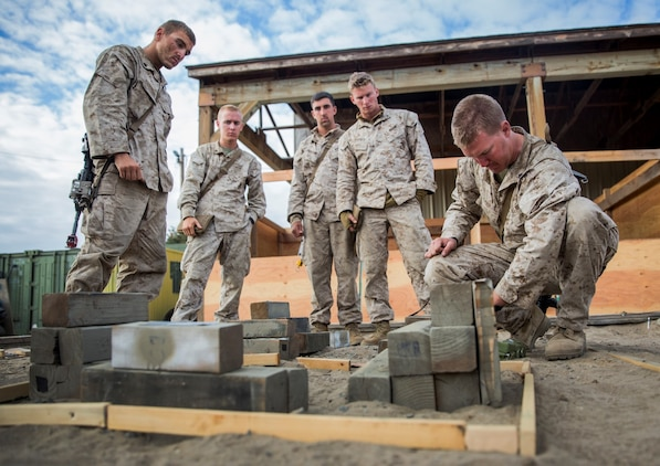 U.S. Marines with Battalion Landing Team, 3rd Battalion, 1st Marine Regiment, 15th Marine Expeditionary Unit, use a terrain model to go over a scheme of maneuver during a helicopter-raid exercise aboard Camp Pendleton, Calif., Oct. 16, 2014. BLT 3/1 is scheduled to deploy as the 15th MEU's ground combat element next spring. (U.S. Marine Corps photo by Sgt. Emmanuel Ramos/Released)
