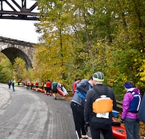 Two Pittsburgh District employees participated in the 2nd annual West Penn Trail Triathlon Oct. 11, portions of which were held on Conemaugh Dam property.