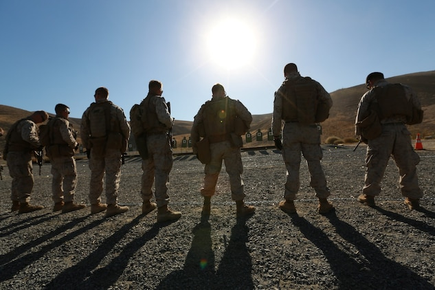 U.S. Marines with 3rd Battalion, 1st Marine Regiment, conduct close-quarters drills during a raid-leaders course aboard Camp Pendleton, Calif., Oct. 8, 2014. Marines with 3/1 are the Battalion Landing Team with the 15th Marine Expeditionary Unit. (U.S. Marine photo by Cpl. Steve H. Lopez/Released)